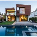 Contrafachada de casa de madera moderna