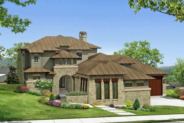 Fachadas de casas grandes con techos a 4 aguas