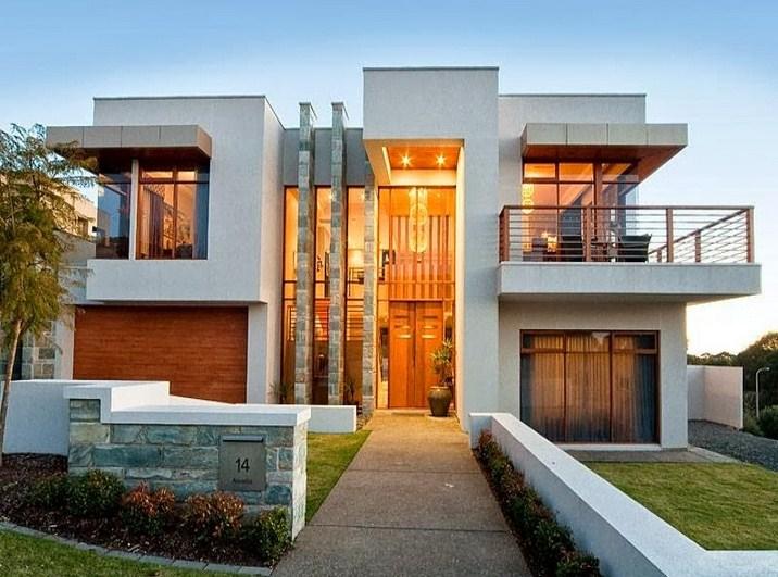 Fachadas de casas modernas con iluminacion calida