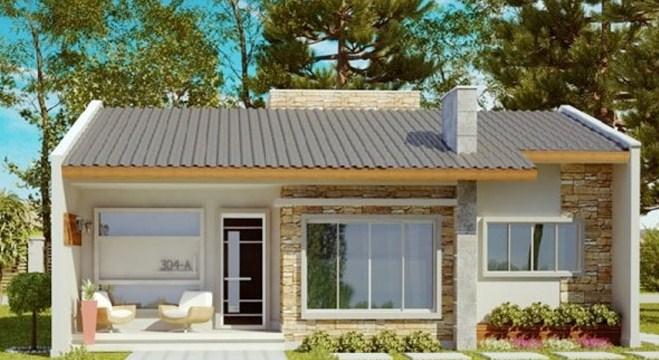 Fachadas de casas pequeñas de un piso