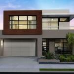 Fachadas y contra fachadas de casas de dos pisos