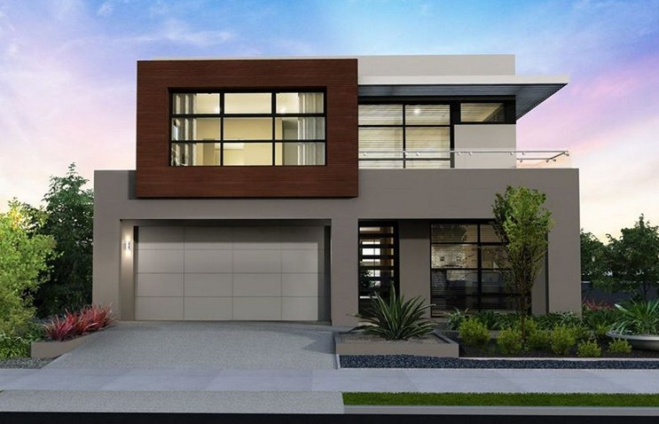 Fachadas y contrafachadas de casas de dos pisos