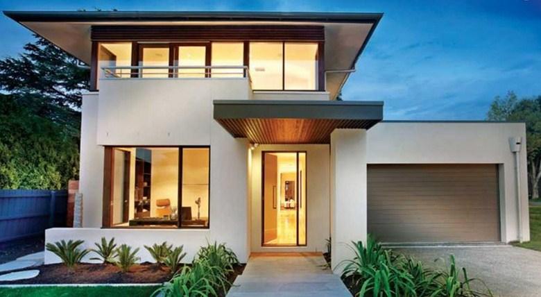 Fachadas y contrafachadas de casas modernas de dos pisos