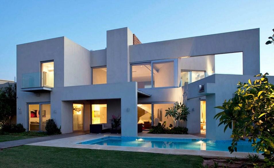 Frentes de casas contemporaneas con cemento alisado