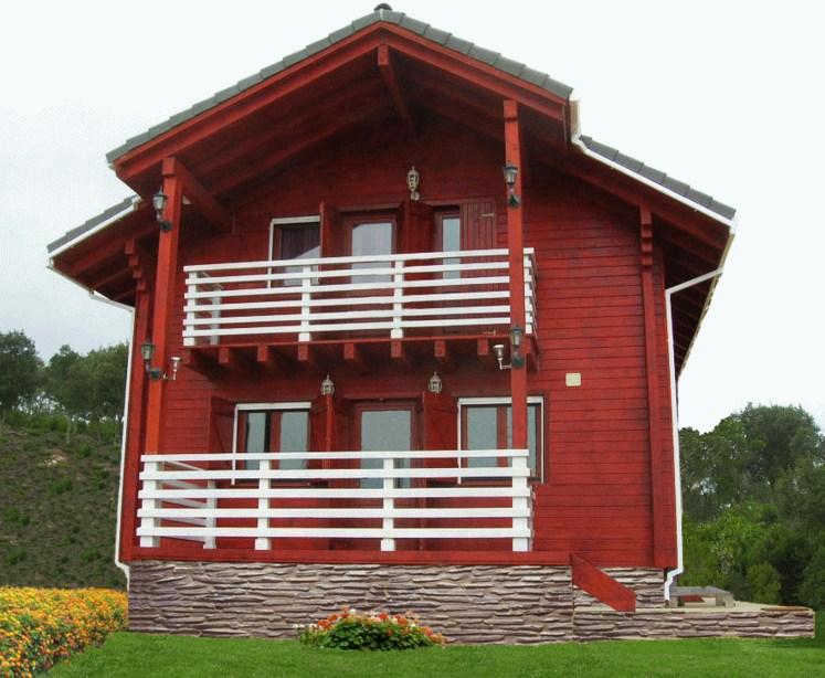 Bonitas casas de madera de dos pisos