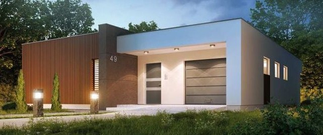 Modern house facade with garage