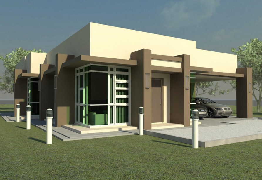 Fachada de casa moderna sencilla y modesta