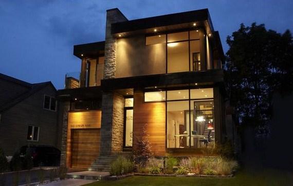 Fachadas de casas bonitas de dos niveles