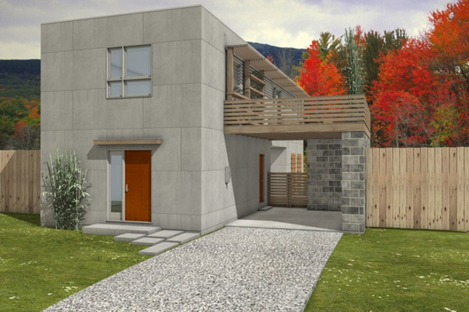 Fachadas de casas con bloques de cemento grandes