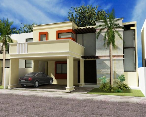 Fachadas de casas con molduras de cemento for Casas de cemento