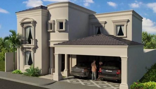 Fachadas de casas con molduras en las ventanas