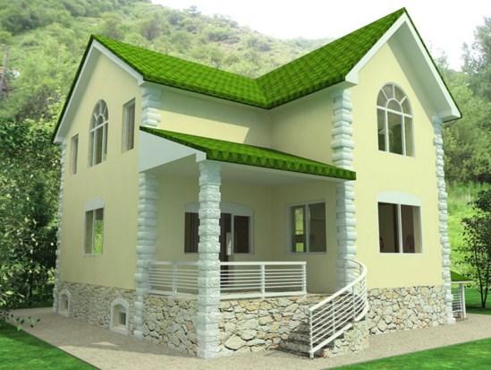 Fachadas de casas con tejas verdes