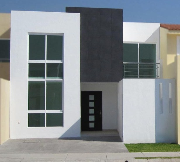 Facades of modern minimalist houses