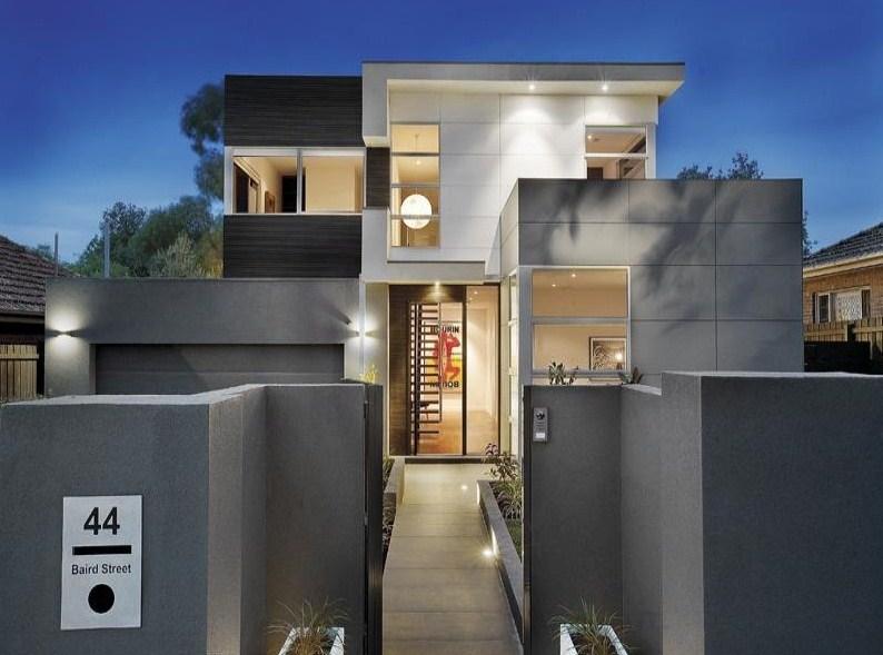 Fachadas pintadas de color gris for Colores para frentes de casas