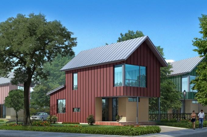 Fachadas de casas prefabricadas de dos pisos