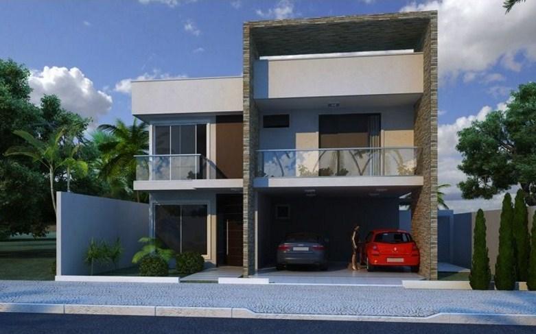Frentes de casas con cantera