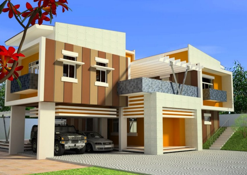 Fachadas de casas con molduras for Frentes de casas pintadas