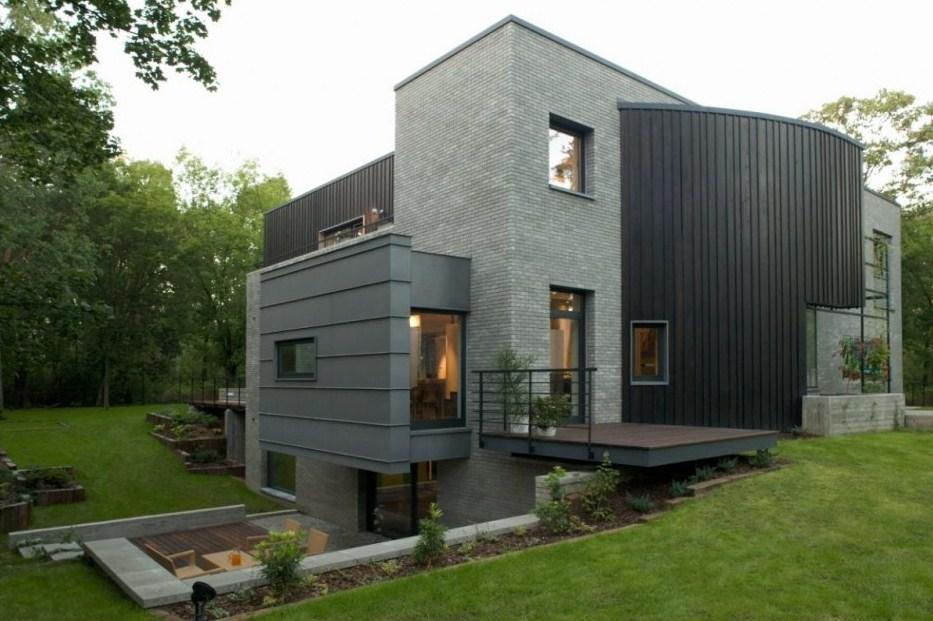 Fachadas de casas modernas en tonos grises Polish house plans