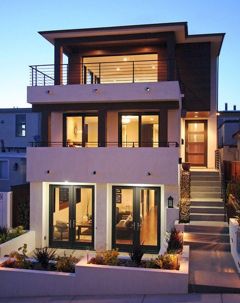 Fachadas de casas modernas de 3 pisos for 3 story beach house floor plans