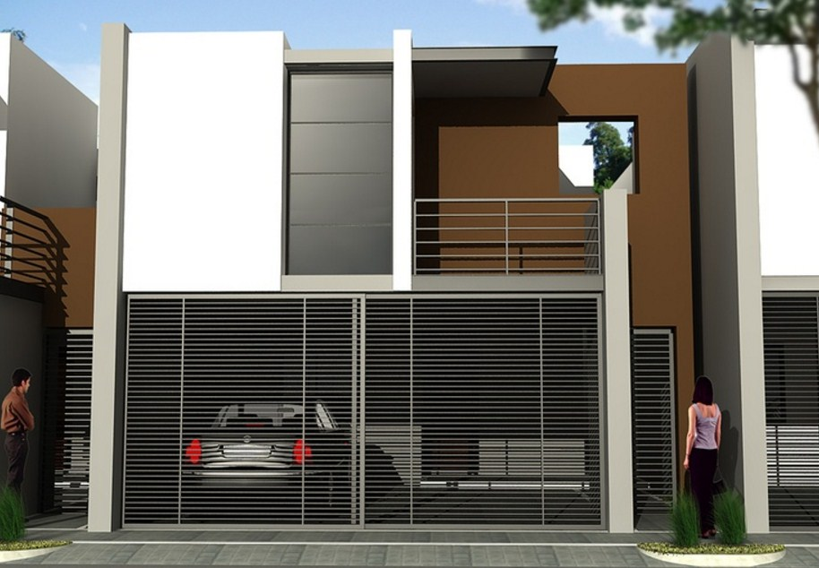 Frentes de casas con rejas horizontales for Casas minimalistas modernas con cochera subterranea