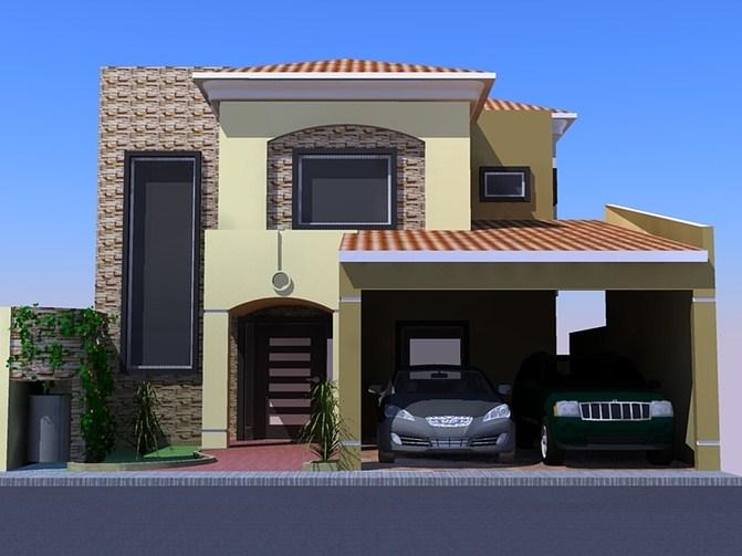 Fachadas de casas de dos pisos con nichos