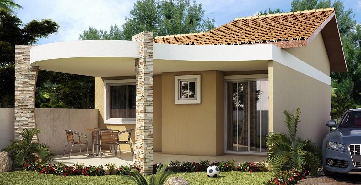 Fachadas de casas de un piso sencillas y pequeñas