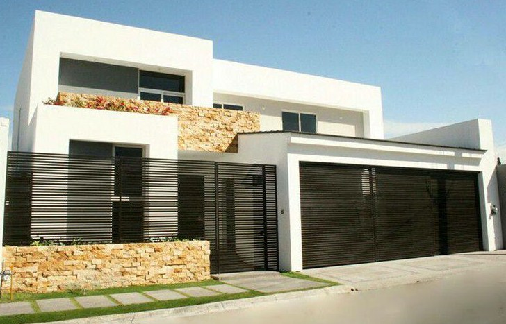 Facades of modern houses with herreria