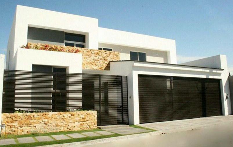 Rejas horizontales minimalistas for Fachadas de viviendas modernas