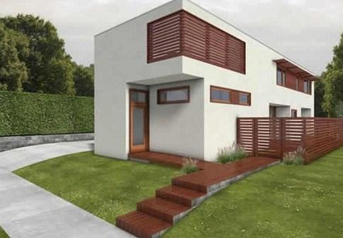 Fachadas de casas rectangulares con segundo piso