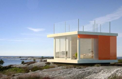 Casas modernas pequeñas con ventanas panoramicas