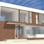 Fachada de casa ancha con 2 pisos
