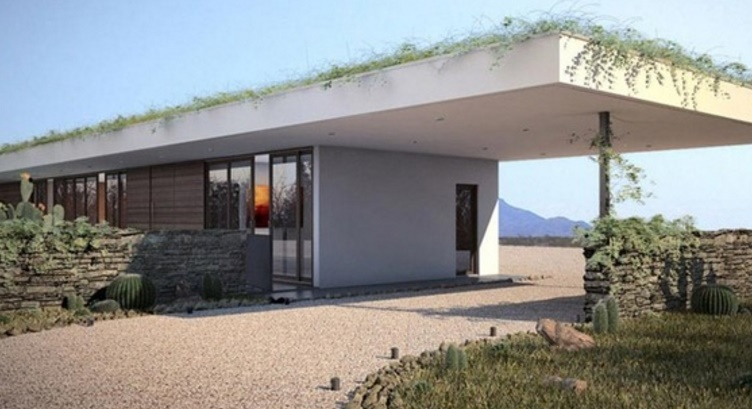 Fachada de casa con techo voladizo