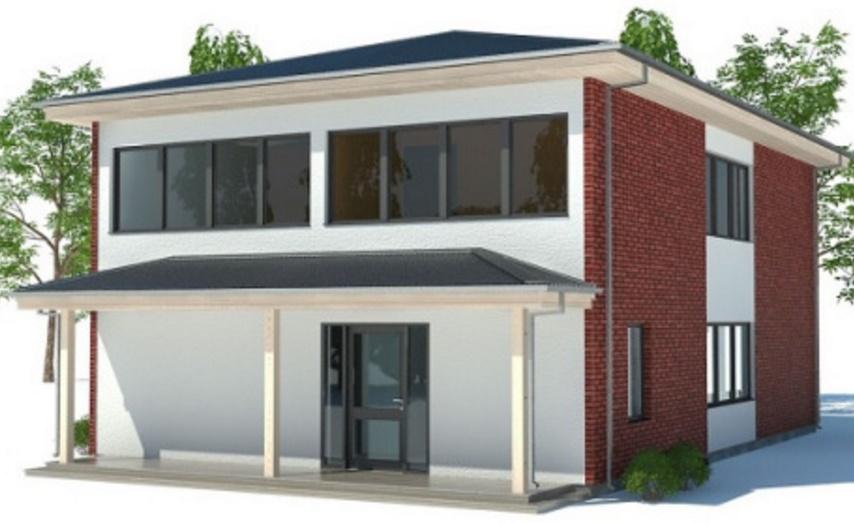 Fachada de casa de 2 pisos y ladrillos vista