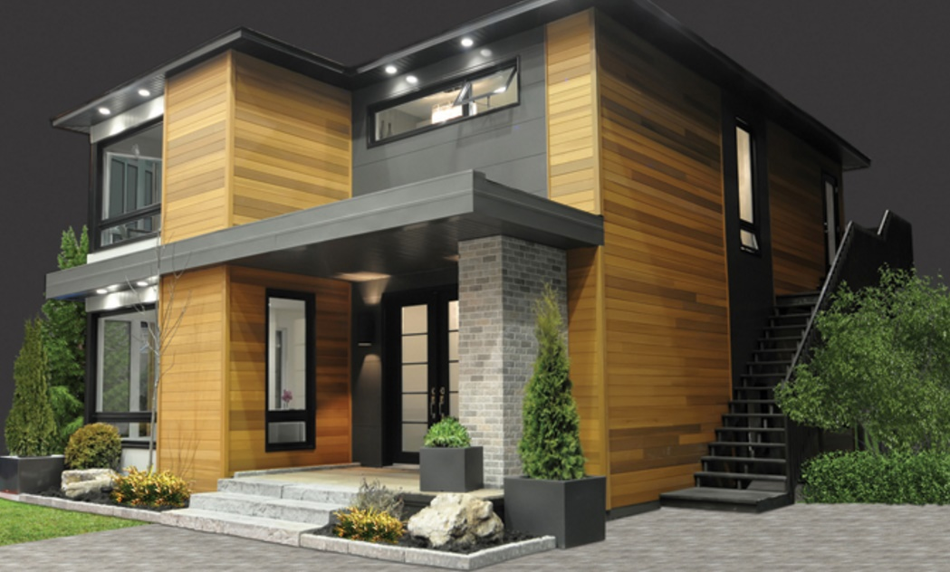 Fachada de casa hermosa y moderna