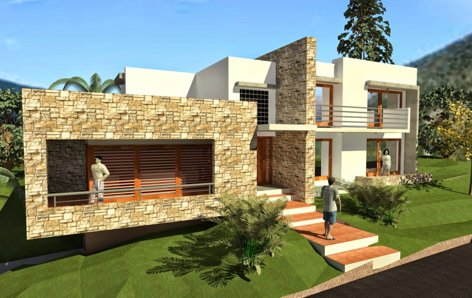 Fachadas de casas con volados for Modelos de casas medianas