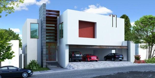 Fachadas de casas con cochera techada for Cocheras minimalistas