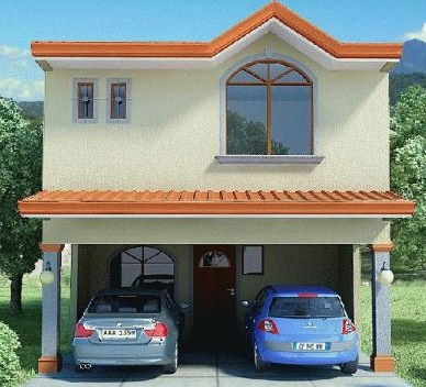 Facades of large houses with columns