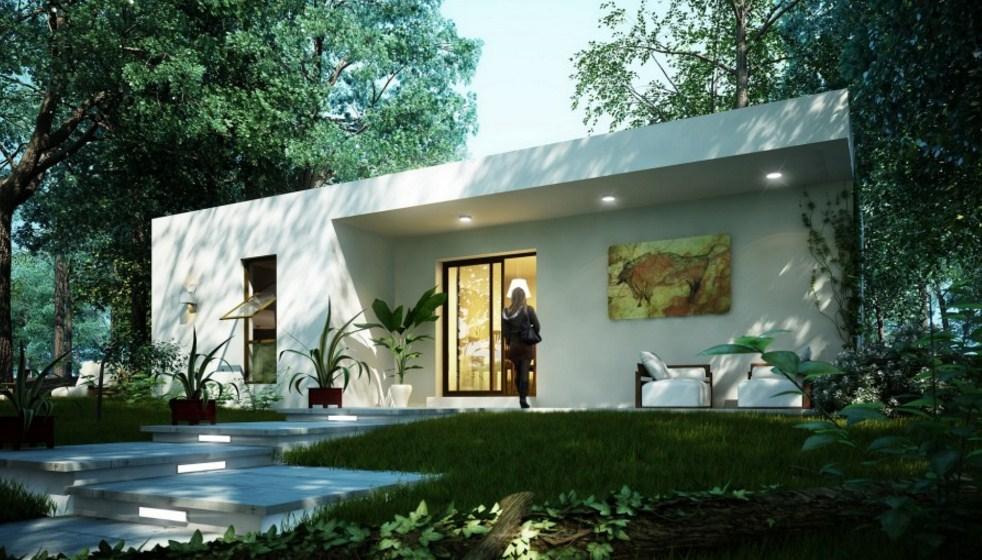 Fachadas de casas con jardín pequeño