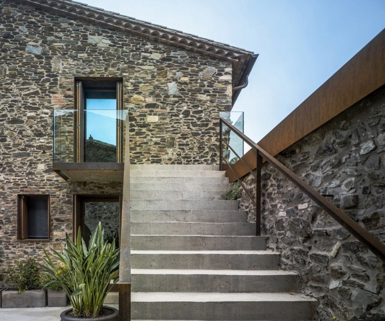 Facades of houses with volcanic stone
