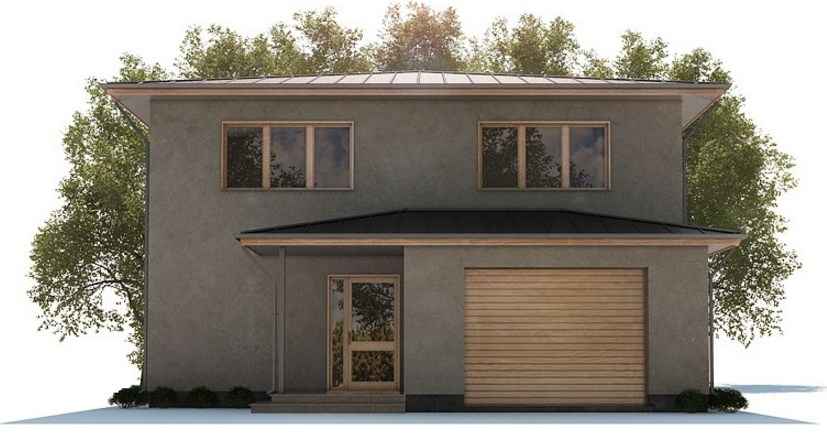 Fachadas de casas de dos pisos con cochera eléctrica