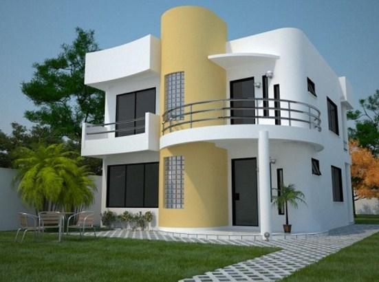 Fachadas de casas modernas con columnas redondas