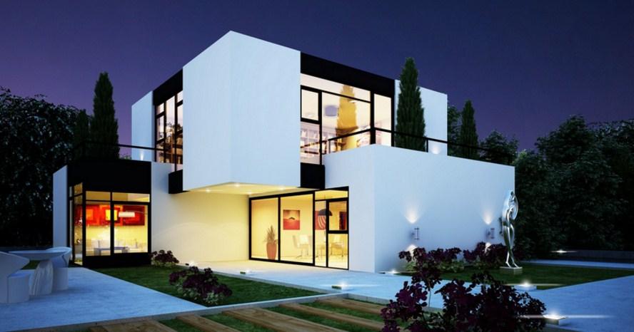 Fachadas de casas modernas con jardín pequeño