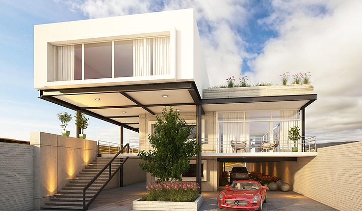 Facades of modern houses with flown
