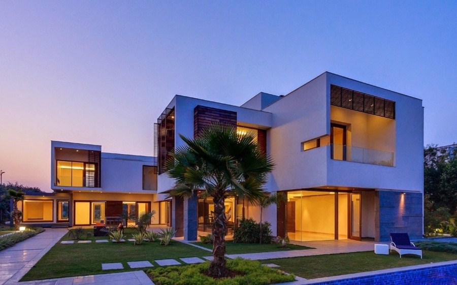 Facades of modern houses with volumes