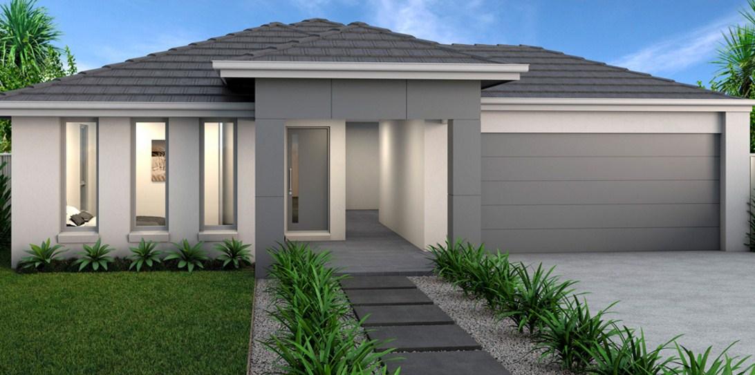 Fachadas de casas sencillas con jardín