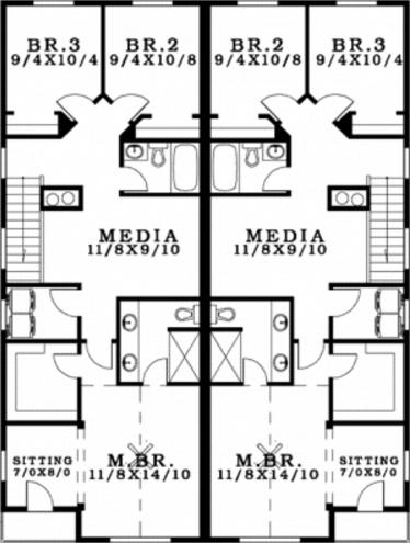 plano de duplex con garage