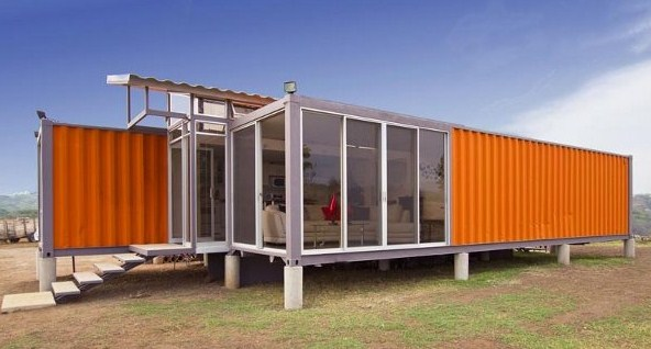 Houses with beautiful containers