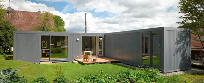Casas con containers con forma de l