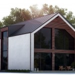 Fachada de 2 pisos y techo a 2 aguas