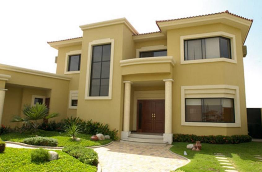 Fachada de casa con cortes rectos y dos pisos for Fachada casa 2 pisos
